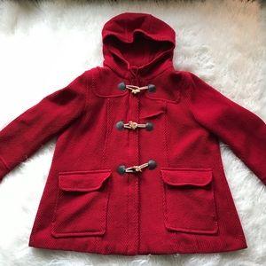 LANE BRYANT RED CORDUROY HOODED TOGGLE ZIPPER COAT